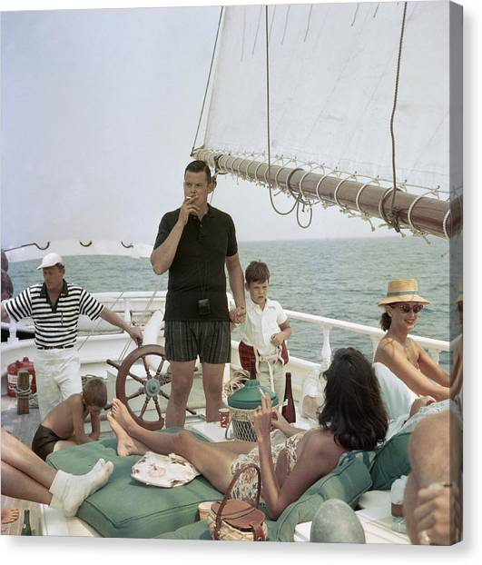 Black Pearl Trippers Canvas Print by Slim Aarons