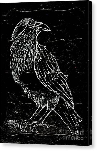 Raven Canvas Print - Black Raven by Genevieve Esson