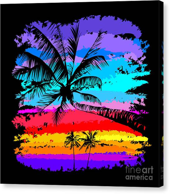 Tropical Plant Canvas Print - Black Silhouettes Of Palm Trees On A by Yulianas