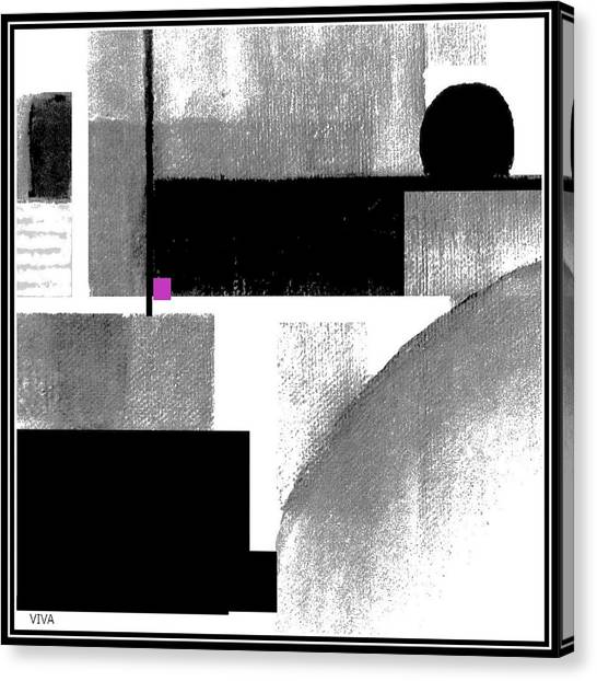 Canvas Print featuring the painting Black White Cubed by VIVA Anderson