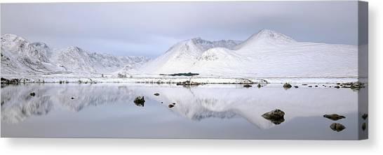Canvas Print featuring the photograph Blackmount Winter Sunrise - Glencoe by Grant Glendinning