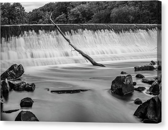 Canvas Print featuring the photograph Blackstone River Xv  Bw by David Gordon
