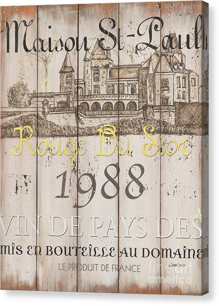 Canvas Print - Blanc Wine Label 2 by Debbie DeWitt