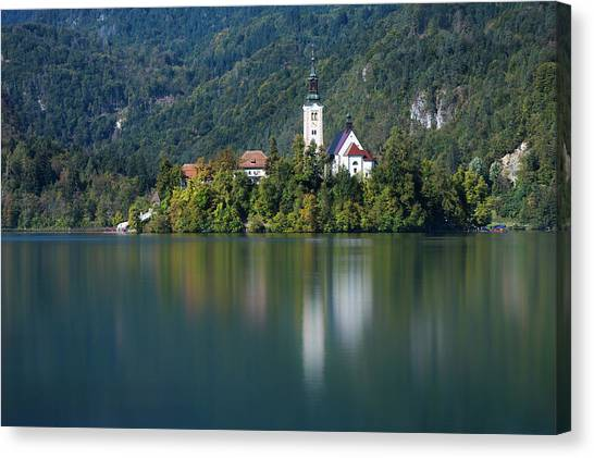 Canvas Print featuring the photograph Bled Island by Davor Zerjav