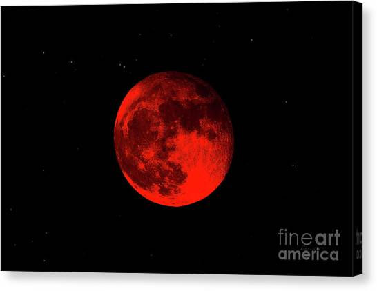 Blood Red Wolf Supermoon Eclipse 873a Canvas Print