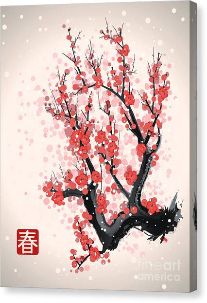 Japanese Gardens Canvas Print - Blooming Flowers On The Tree Branch by Yevhen Tarnavskyi