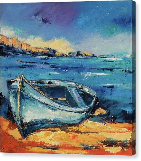 Blue Boat On The Mediterranean Beach Canvas Print