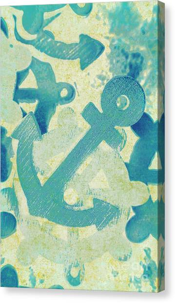Beach Artwork Canvas Print - Blue Boating Button by Jorgo Photography - Wall Art Gallery