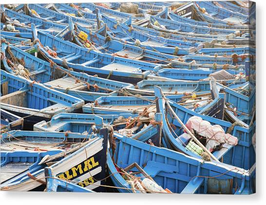 Blue Boats In Morocco Canvas Print