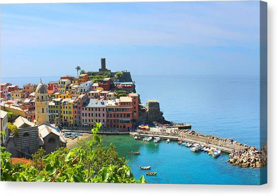 Blue Cinque Terre Canvas Print by Christine Buckley