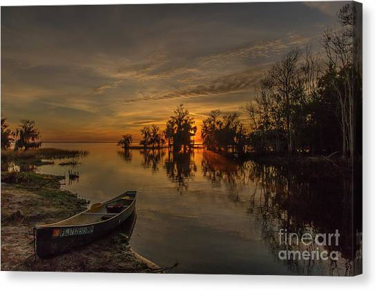 Canvas Print featuring the photograph Blue Cypress Canoe by Tom Claud