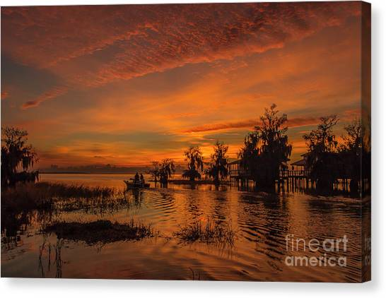 Canvas Print featuring the photograph Blue Cypress Sunrise With Boat by Tom Claud