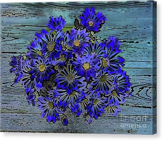 Canvas Print featuring the digital art Blue Daisies by Dee Flouton