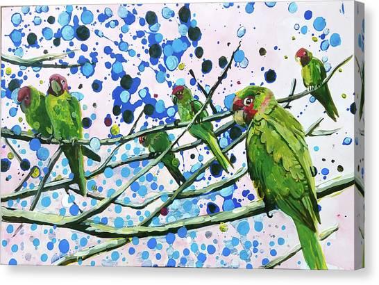Blue Dot Parakeets Canvas Print