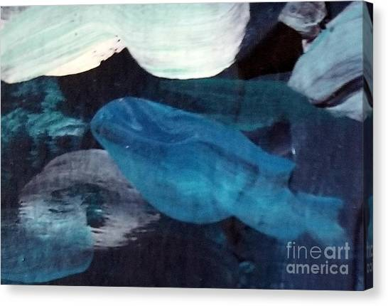 Canvas Print featuring the painting Blue Fish by Maria Langgle