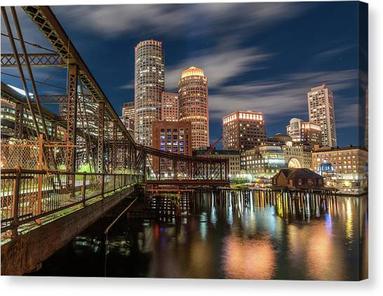 Blue Hour In Boston Harbor Canvas Print