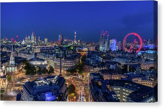 Canvas Print featuring the photograph Blue Hour In London by Stewart Marsden