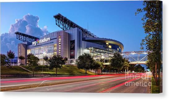 Blue Hour Photograph Of Nrg Stadium - Home Of The Houston Texans - Houston Texas Canvas Print