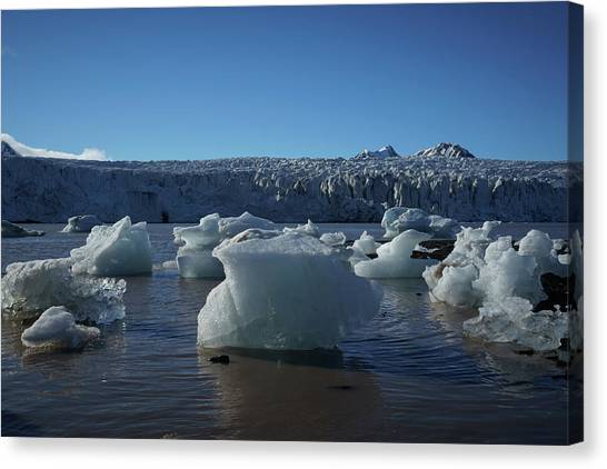 Blue Icebergs Floating Along Storm Arctic Coast Panorama Canvas Print