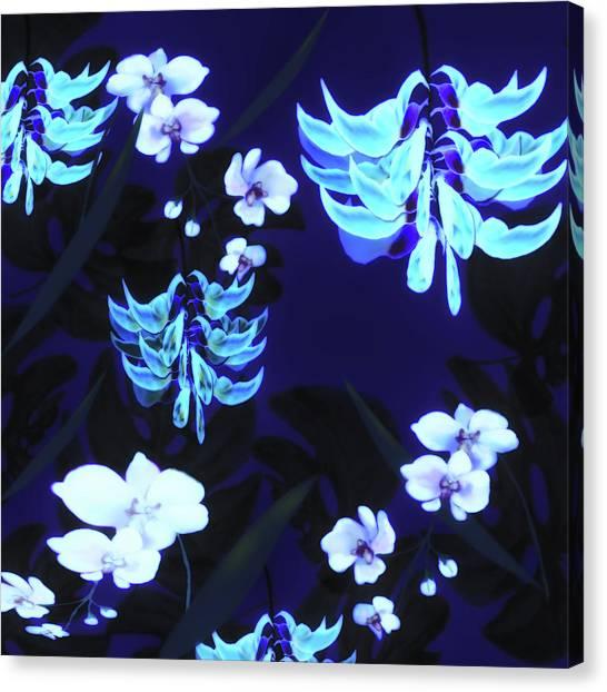 Blue Jungle Floral Canvas Print