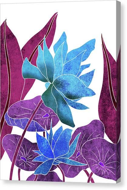 Blossom Canvas Print - Blue Lotus Flower - Botanical, Floral, Tropical Art - Modern, Minimal Decor - Blue, Purple, Indigo by Studio Grafiikka