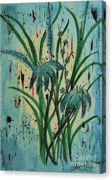 Canvas Print - Blue Monday Floral Double by Cathy Beharriell