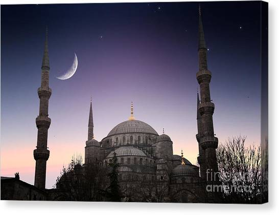 Worship Canvas Print - Blue Mosque - Istanbul  Turkey by Plusone