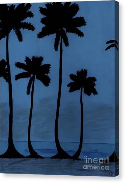 Blue - Night - Beach Canvas Print