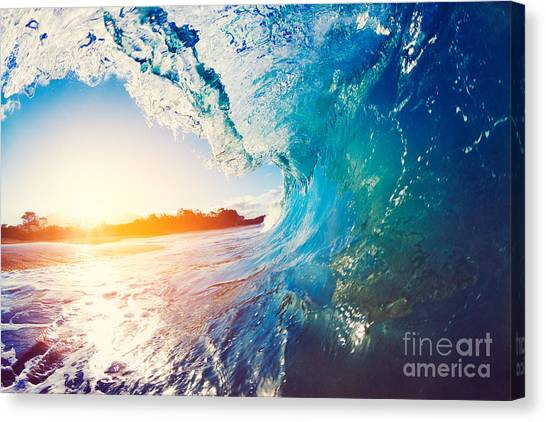 Tides Canvas Print - Blue Ocean Wave Crashing At Sunrise by Epicstockmedia