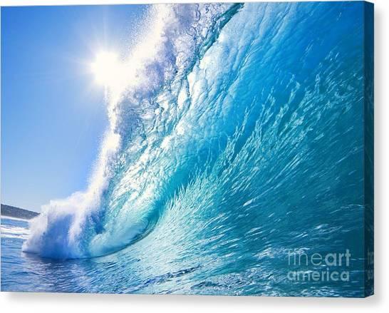 Exercising Canvas Print - Blue Ocean Wave by Epicstockmedia