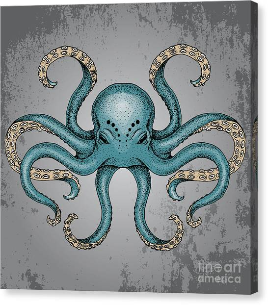 Imagery Canvas Print - Blue Octopus With Grunge Background In by Maria Sem