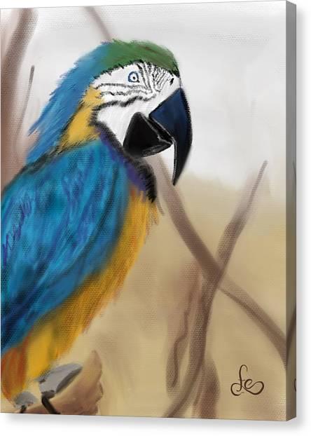Canvas Print featuring the digital art Blue Parrot by Fe Jones