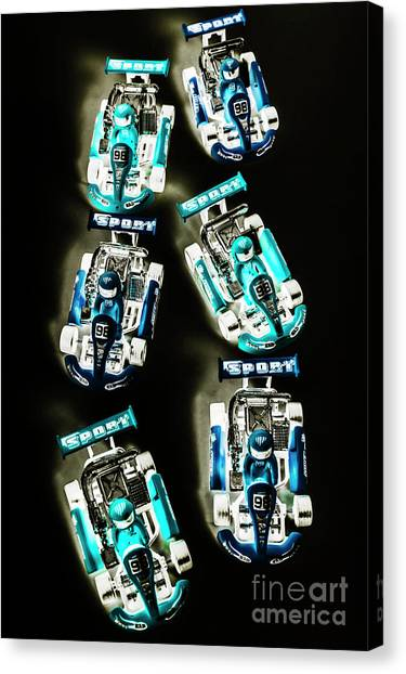 Carts Canvas Print - Blue Racers by Jorgo Photography - Wall Art Gallery