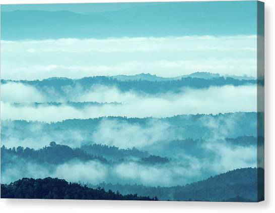 Blue Ridge Mountains Layers Upon Layers In Fog Canvas Print