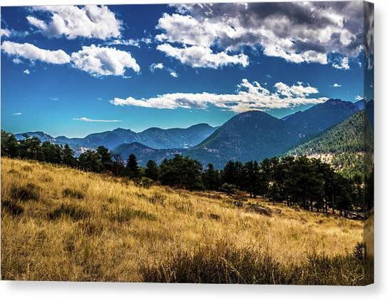 Canvas Print featuring the photograph Blue Skies And Mountains by James L Bartlett
