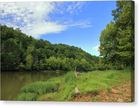 Canvas Print featuring the photograph Blue Sky At Cumberland River by Angela Murdock