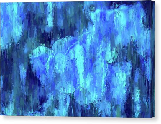 Blue Tulips On A Rainy Day Canvas Print