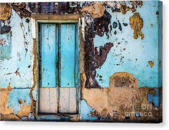 Blue Wall And Door Canvas Print
