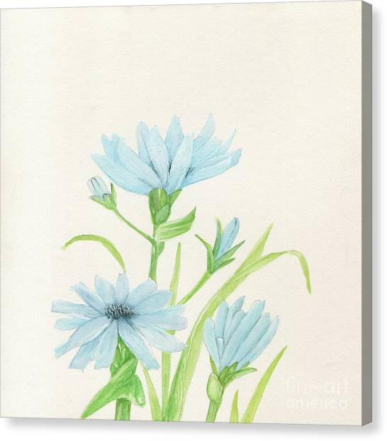 Blue Wildflowers Watercolor Canvas Print
