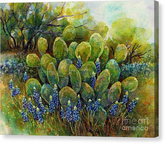Spring Trees Canvas Print - Bluebonnets And Cactus 2 by Hailey E Herrera