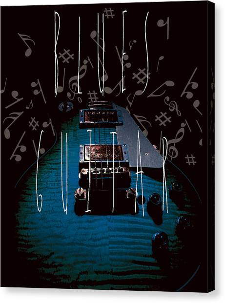 Blues Guitar Music Notes Canvas Print