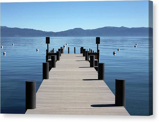 Boat Dock Pier Out To Lake Tahoe And Canvas Print