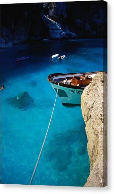 Boat In Water Of Cala De Mariolu, Golfo Canvas Print
