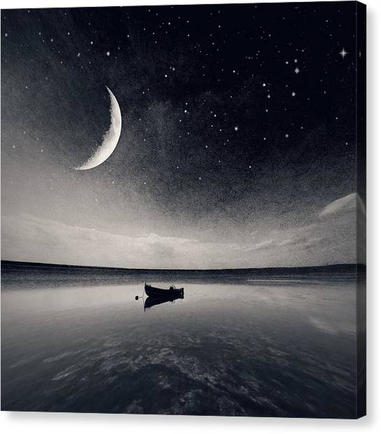 Boat On Lake At Night Canvas Print by Mateusz Sawicki / Eyeem