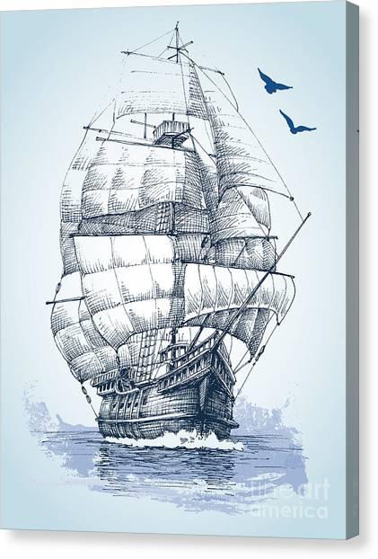Realistic Canvas Print - Boat On Sea Drawing. Sailboat Vector by Danussa