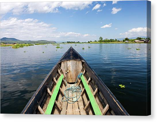Boat Trip On Inle Lake Canvas Print