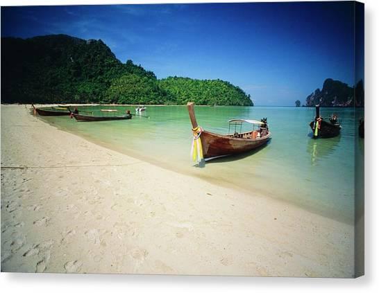 Phi Phi Island Canvas Print - Boats At Ko Phi Phi Don Island In by Design Pics
