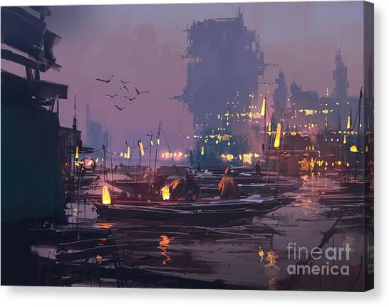 Acrylic Canvas Print - Boats In Harbor Of Futuristic by Tithi Luadthong