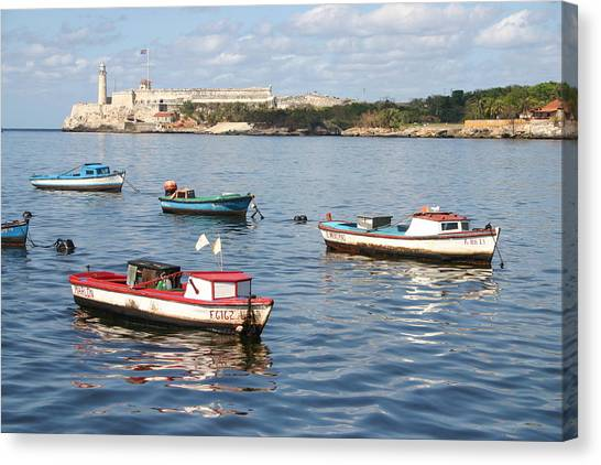 Boats In The Harbor Havana Cuba 112605 Canvas Print