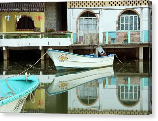 Boats On Still Lagoon Canvas Print by Blind Dog Photo Dan Gair